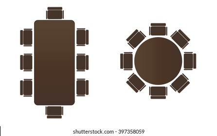 Silhouette table for business meetings.