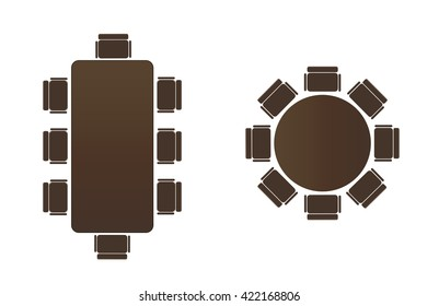 Silhouette table for business meetings. Round Table icon. Icon of a rectangular table.