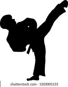 Silhouette of a TaeKwonDo pugilist doing a side-kick. Vector illustration.