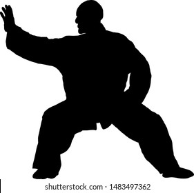 Silhouette of a Taichi master making a pose. Vector illustration.