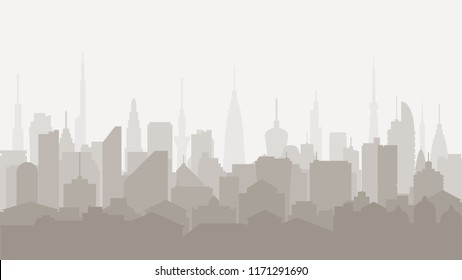 Silhouette of a tall building. City skyline. Urban landscape. Daytime cityscape in flat style. Background for banner, poster and card. Vector illustration.