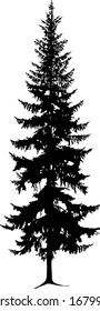 Silhouette of tall pine tree. Hand made.
