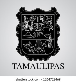 Silhouette of Tamaulipas Coat of Arms. Mexican State. Vector illustration
