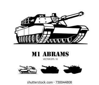 Silhouette tank logo template vector 2