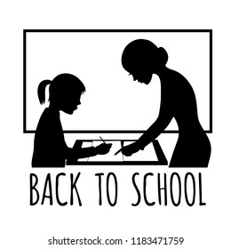 Silhouette of a teacher at blackboard in the classroom with a child, vector image