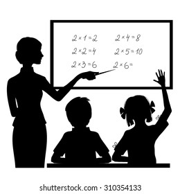 Silhouette of teacher at blackboard explaining mathematics to children, vector image