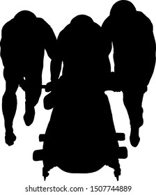 Silhouette of a team of bobsled crew pushing a sled. Vector illustration.