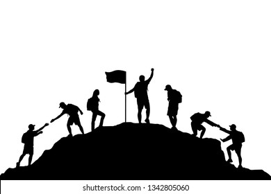 Silhouette team is helping each other to the top of mountain. And celebrating success on white background. Business, teamwork and goal concept. Vector illustration.