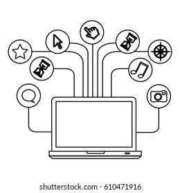 silhouette tech laptop computer database server icon stock vector illustration