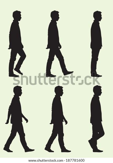 Silhouette Teen Boy Walking Cycle