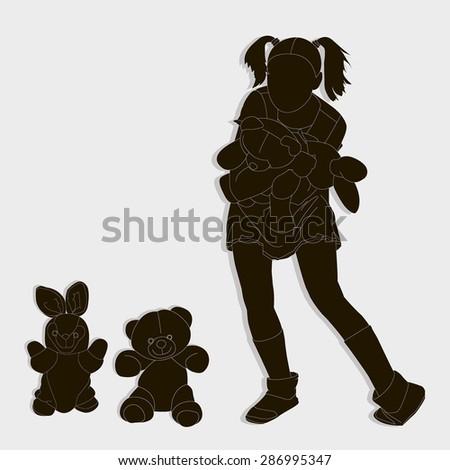 Silhouette Of Teen Girl Hare Bear
