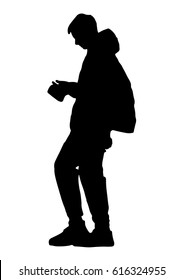 Silhouette of a teenager with a phone goes vector