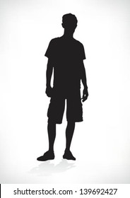 silhouette of a teenager, relaxed, vector
