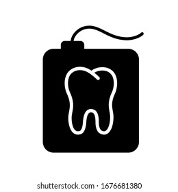 Silhouette teeth floss in rectangular case with tooth shape. Outline icon of dental floss in container. Black simple illustration of daily oral care. Flat isolated vector image on white background