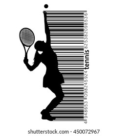 Silhouette of a tennis player and barcode. Text and background on a separate layer, color can be changed in one click.