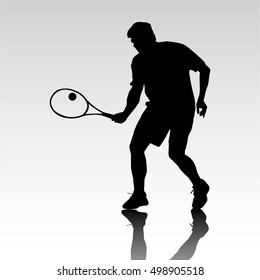 silhouette tennis player . black and white drawing on a white background
