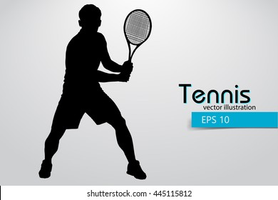 Silhouette of a tennis player. Text and background on a separate layer, color can be changed in one click. Tennis player