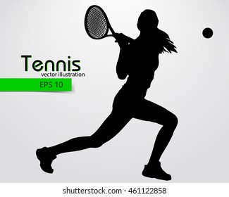Silhouette of a tennis player. Text and background on a separate layer, color can be changed in one click.