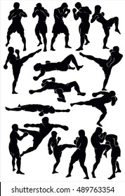 Silhouette of the Thai boxing. Set of human boxing silhouettes.