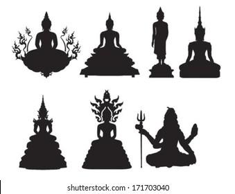 Silhouette of Thai Buddha vector illustration