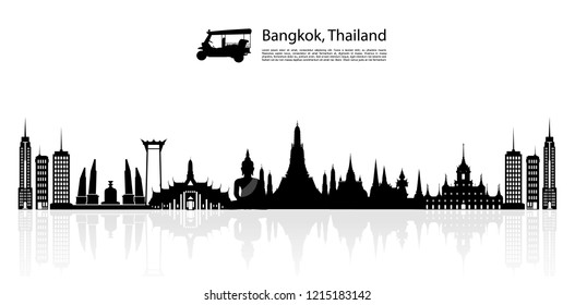 Silhouette to Thailand, Bangkok in Thailand with attractions, landmarks