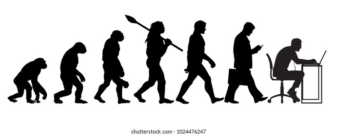Silhouette of theory of evolution of man. Human development from monkey to caveman, modern businessmen talking on mobile phone, programmer sitting at computer. Hand drawn sketch vector illustration.