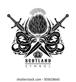 Silhouette of thistle with leaf pattern and cross swords. Symbol of Scotland design element black on white