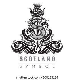 Silhouette of thistle pattern with capital letter s in center. Symbol of Scotland design element black on white