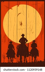 Silhouette of three cowboys riding horses background, Vector