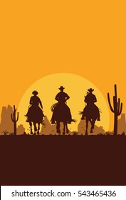 Silhouette of three cowboys riding horses in desert, vector
