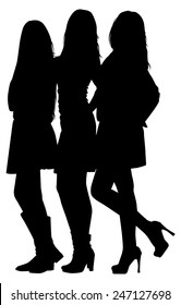 silhouette of three fashion girls on white background vector