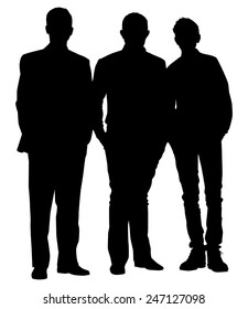 silhouette of three friends on white background vector