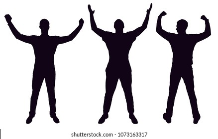 silhouette of three happy men with arms raised. Business concept of success