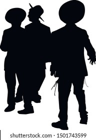 Silhouette of three Jews. Hasidim are religious Jew in traditional clothes. Men in a hat. Jews in tzitzit and talit katan. Isolated vector illustration. Black on white.