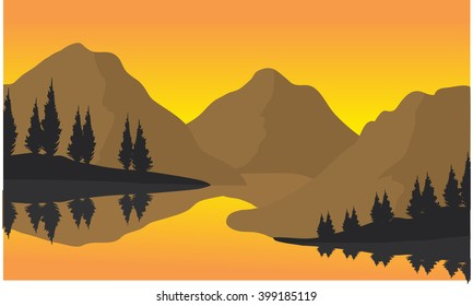 Silhouette of three moountain at the sunrise