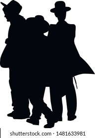 Silhouette of three religious Jews walking down the street. Jew in a traditional costume. Hasid in and hat. Isolated vector illustration Black on white.