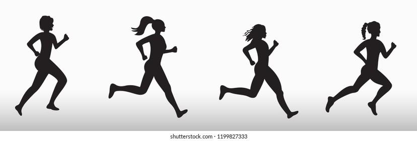 Silhouette of three running women  on white background