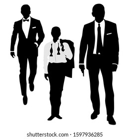 Silhouette of Three Secret Agent Detective