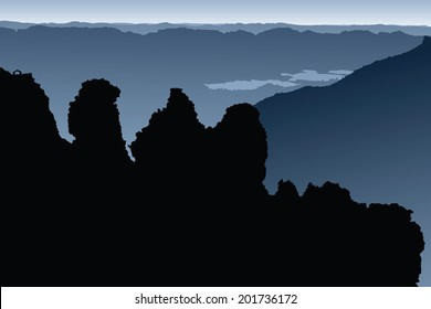 Silhouette of the Three Sisters rock formation in Australia.