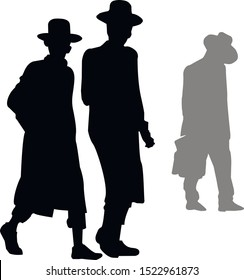 The silhouette of the three walking Hasidic Jews. Religious Jew in a traditional costume. The man in the hat. Isolated vector illustration black and white color.