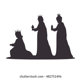 silhouette three wise kings manger design isolated