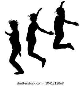 Silhouette of three young girls jumping with hands up, motion.