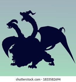 """Silhouette of a three-headed chimera with wings and a tail in the style of the game """"Dungeons and Dragons"""" on a blue background."""