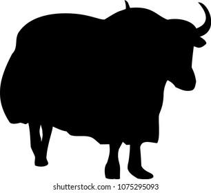 Silhouette of the Tibetan yak