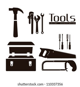 silhouette of tools, with a pipe wrenches, hammer, hacksaw, screwdrivers, hand saw and tool box, vector illustration