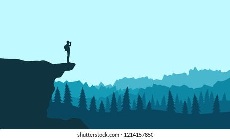 Silhouette of a tourist with a backpack on a cliff looks in the binoculars. Vector landscape of the forest