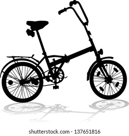 Silhouette of a tourist bicycle on a white background