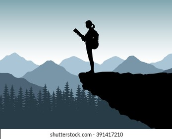 Silhouette of the tourist, climber of the girl, woman on the edge of a cliff of the stone with a backpack. The traveler costs on the edge of the mountain, a plumb and looks at a map or route. Vector.