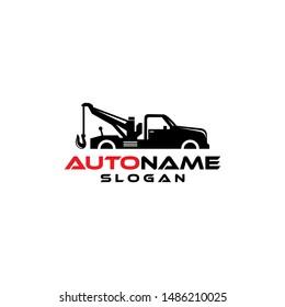Silhouette towing car logo design