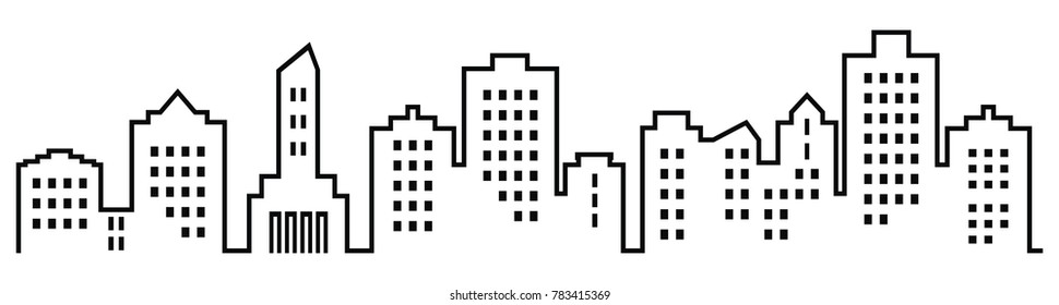 Silhouette of town, vector icon